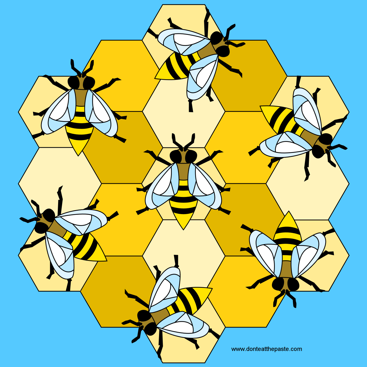 Bees mandala with a blank version to color!