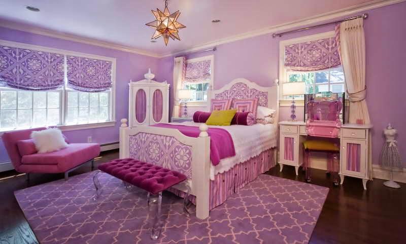 kombinasi pink dan ungun kamar anak perempuan 2015