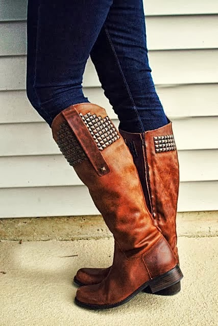 Adorable Leather Brown Stud Long Boots
