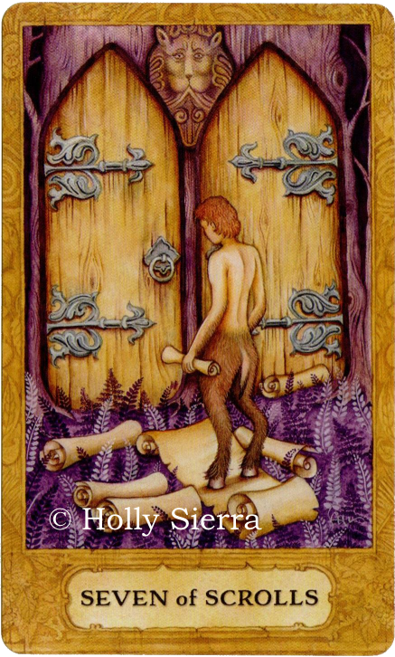 Chrysalis Tarot, Seven of Scrolls, indecision