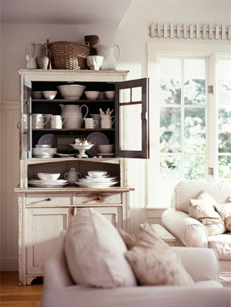 cottage style cabinet with china display and slipcover shabby chic sofa