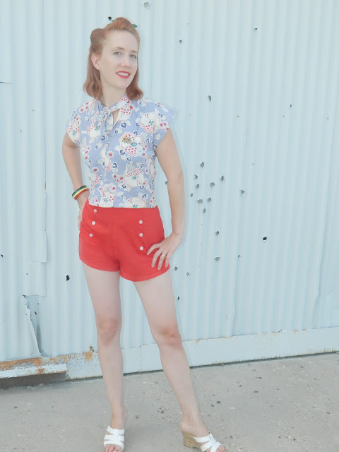 high waisted pin up saillor shorts 40s tie top feedsack bakelite Just Peachy, Darling