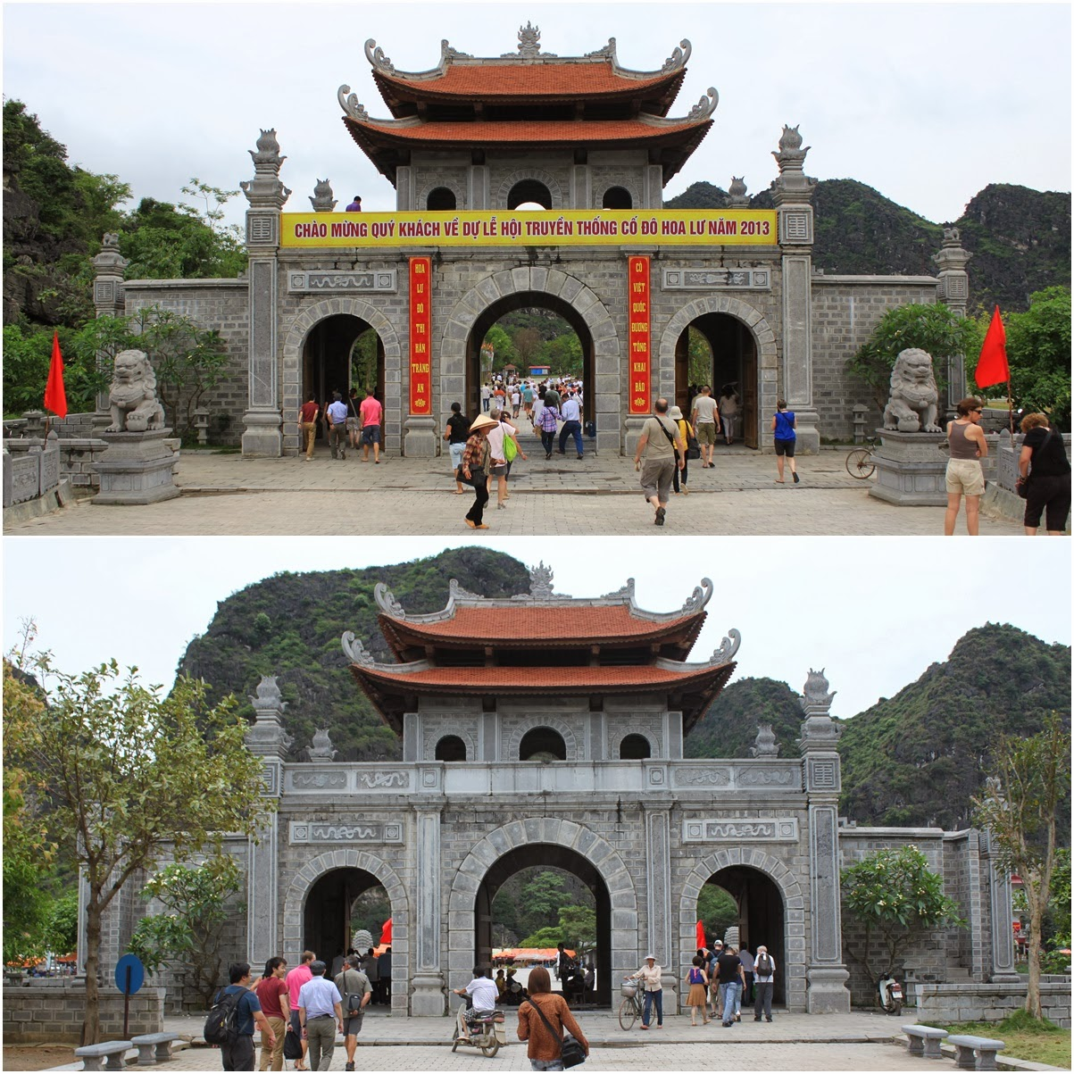 The front (top) and rear (bottom) views of the main Gateway to King Ðinh Tiên Hoàng Temple at Hoa Lu capital in Vietnam