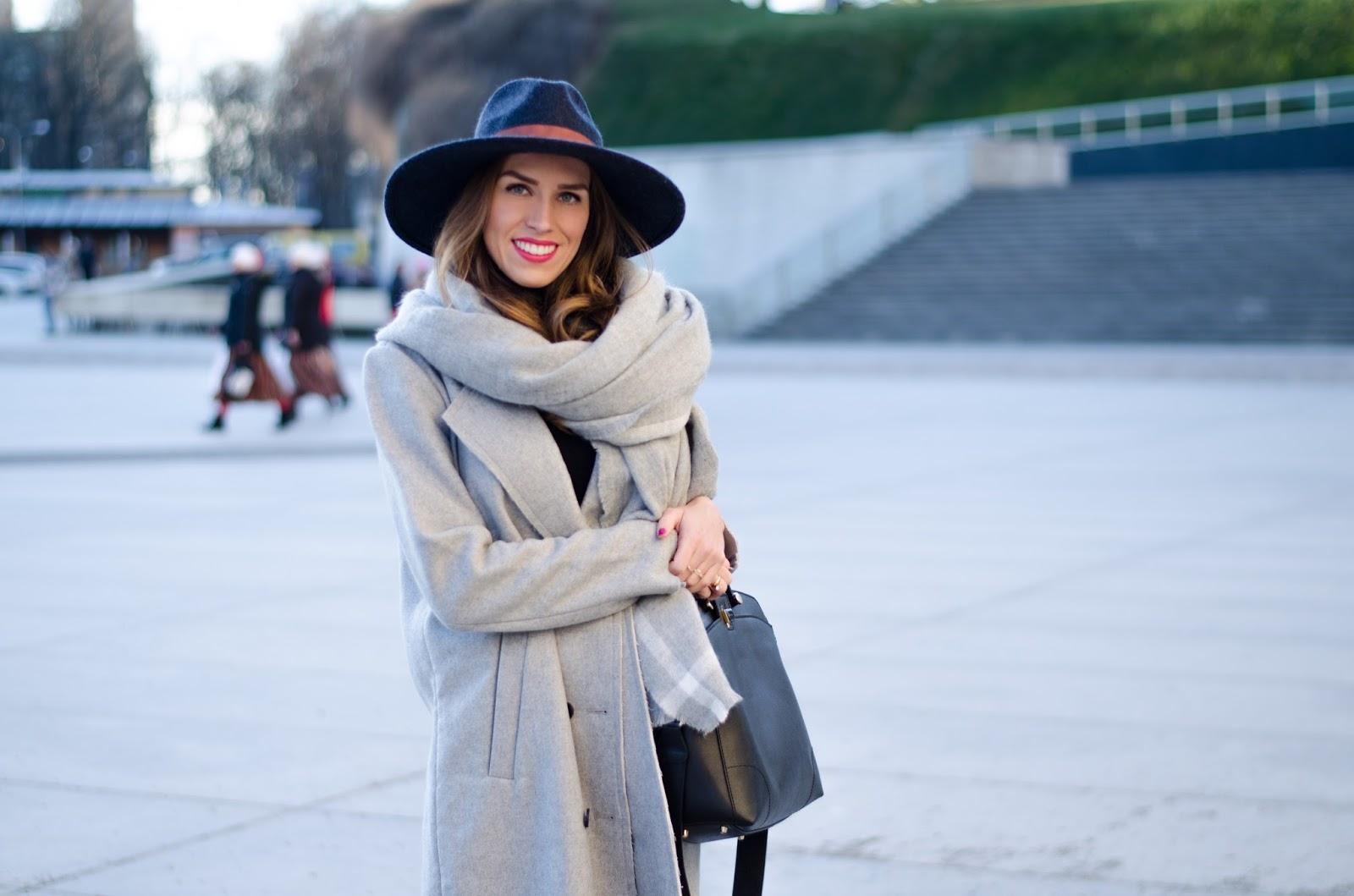 kristjaana mere zara long gray wool scarf hm felt fedora winter look