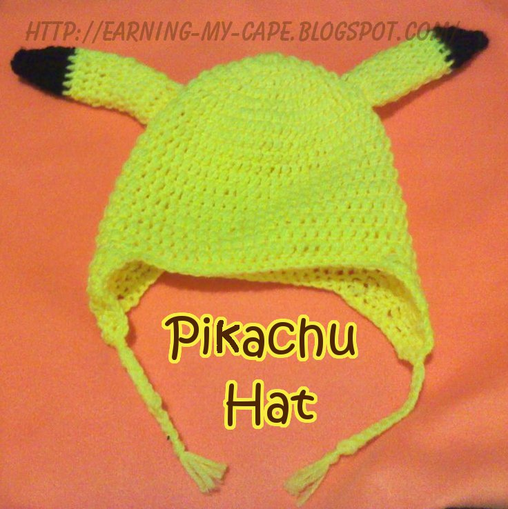 Crochet Pattern For Pikachu : Earning-My-Cape: Crochet Pikachu Hat (and tail)