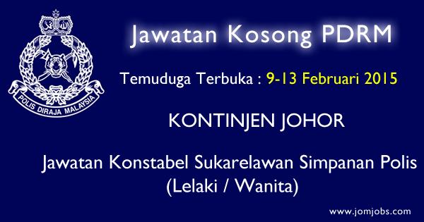 Jawatan Kosong PDRM 2015 Terkini Kontinjen Johor