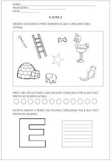Atividades para Alfabetização - Pinte as figuras - Escreva o nome das figuras - A letra E