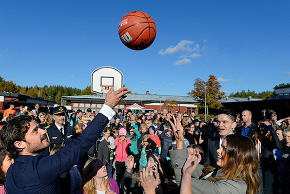"Prince Carl Philip and Princess Sofia of Sweden attended the opening of ""Sports Without Borders"" activities in a school in Norrtalje"
