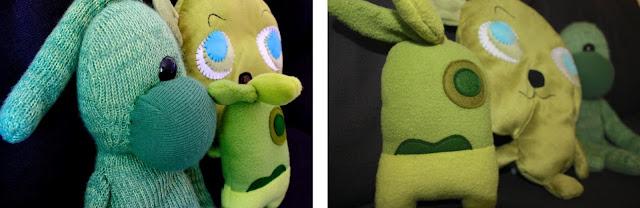 monstruos verdes de peluche