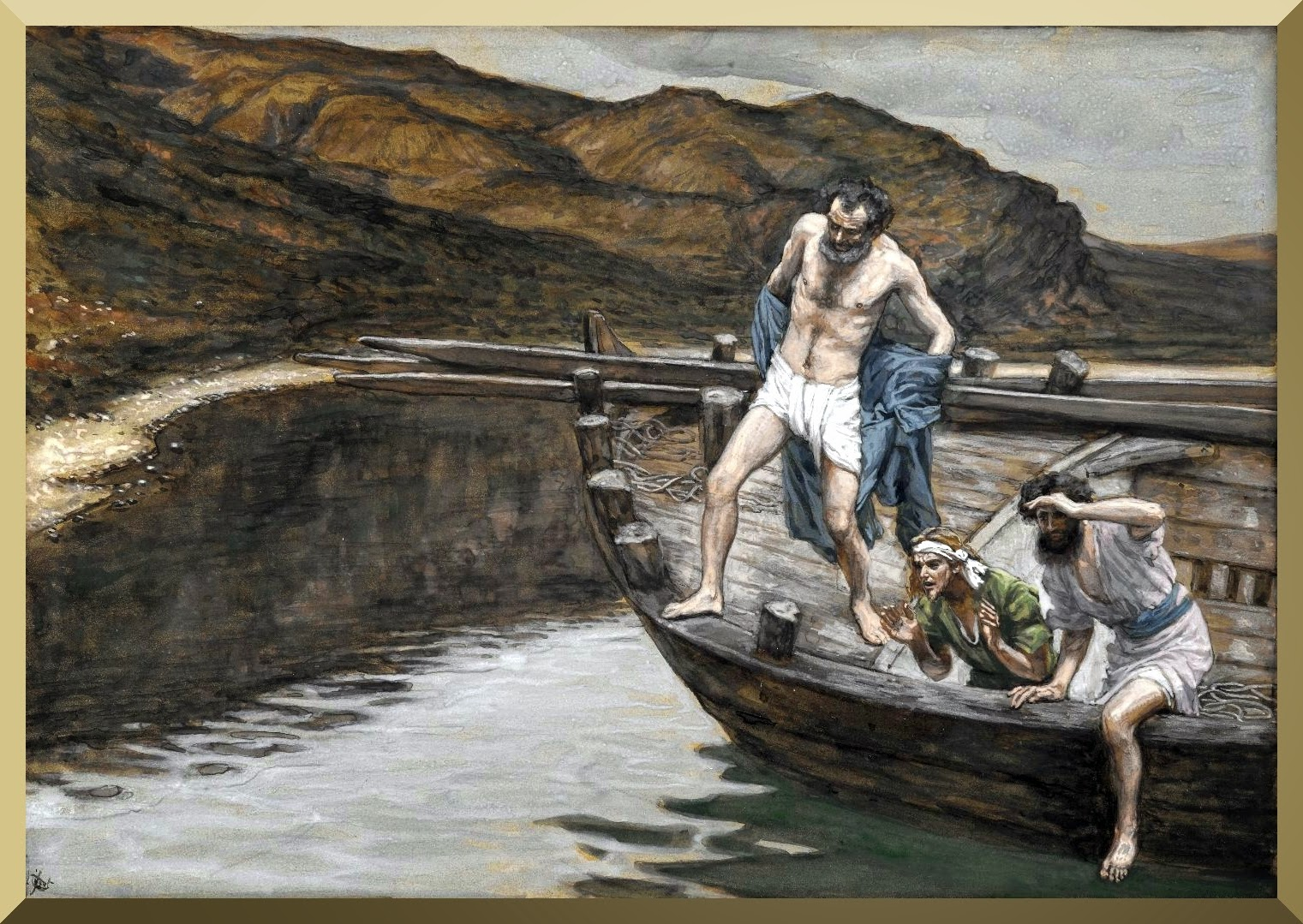 """Saint Peter Alerted by Saint John to the Presence of the Lord Casts Himself into the Water"" -- by James Tissot"