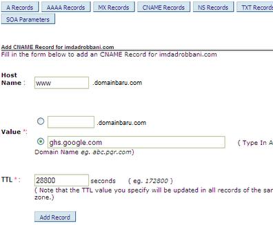 cara ganti blogspot ke domain sendiri