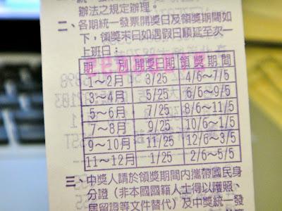 Dates of Taiwan Receipt Lottery
