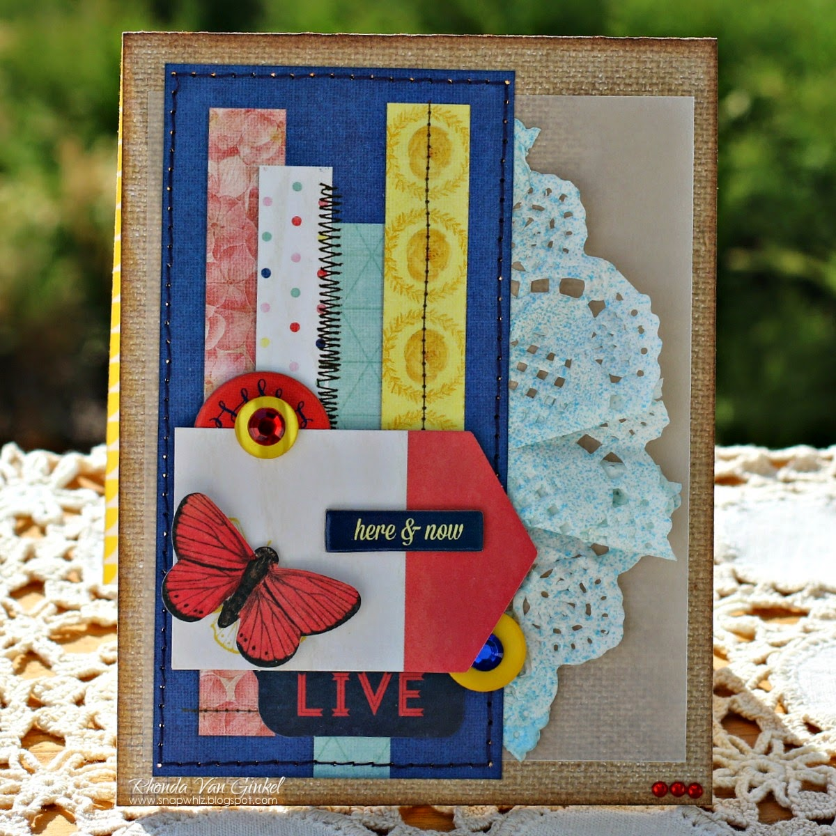 Here and Now card featuring Sweet Life Collection by BoBunny designed by Rhonda Van Ginkel