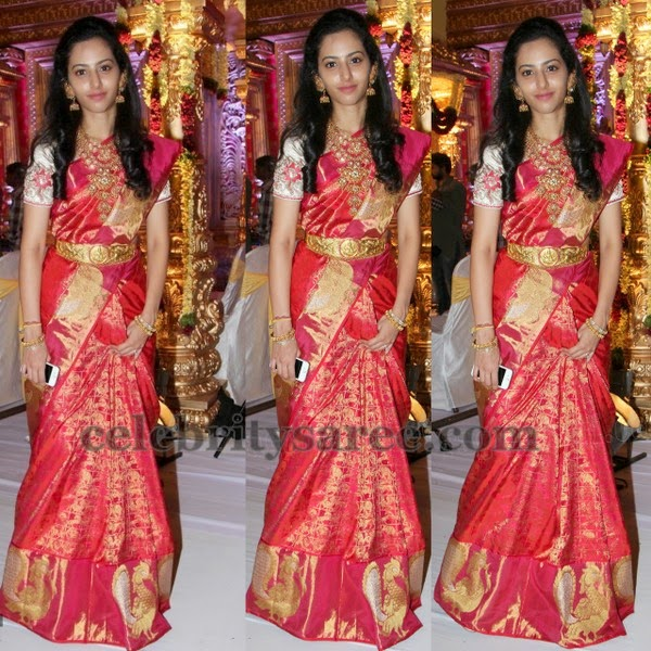 Tejaswini Red Kanjivaram Saree