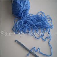 Primeira parte da execução de uma almofada de crochê com ponto helicoidal