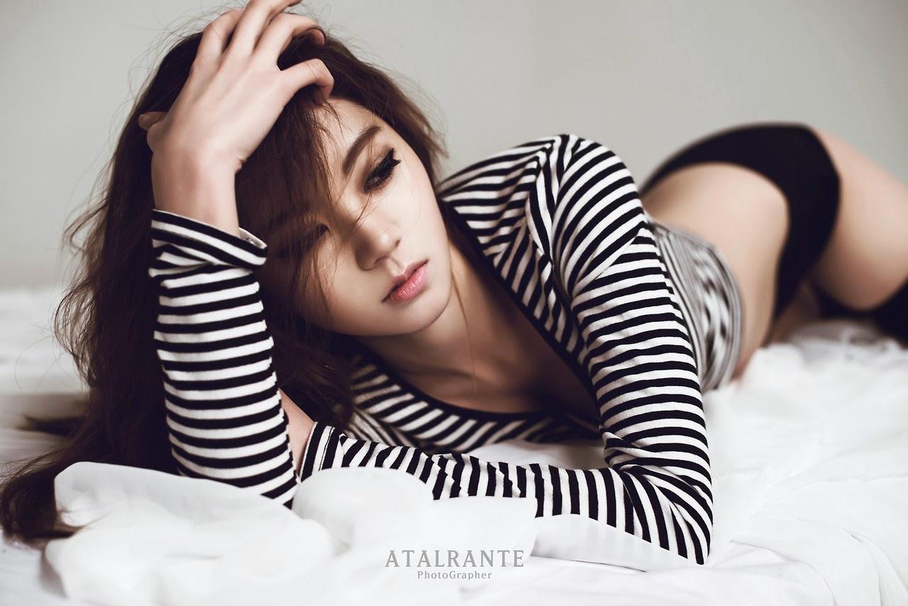 Chae Eun Black and White Stripes Sexy