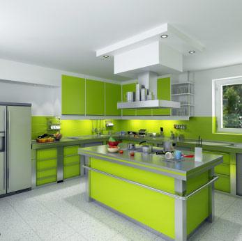 couleur cuisine stephanie space - Decoration Salon Vert Pistache