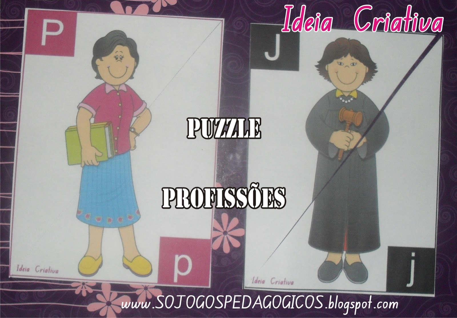Puzzle Profissões Letra Maiúscula e Minúscula