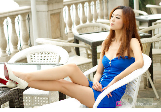 1 Lu Yao in blue dress-Very cute asian girl - girlcute4u.blogspot.com