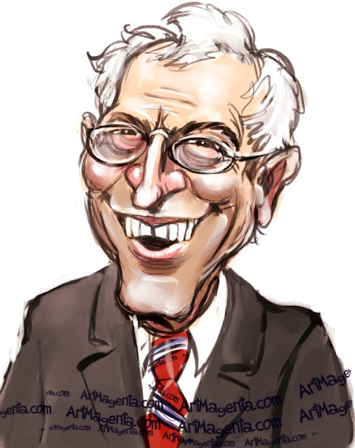David Letterman caricature cartoon. Portrait drawing by caricaturist Artmagenta
