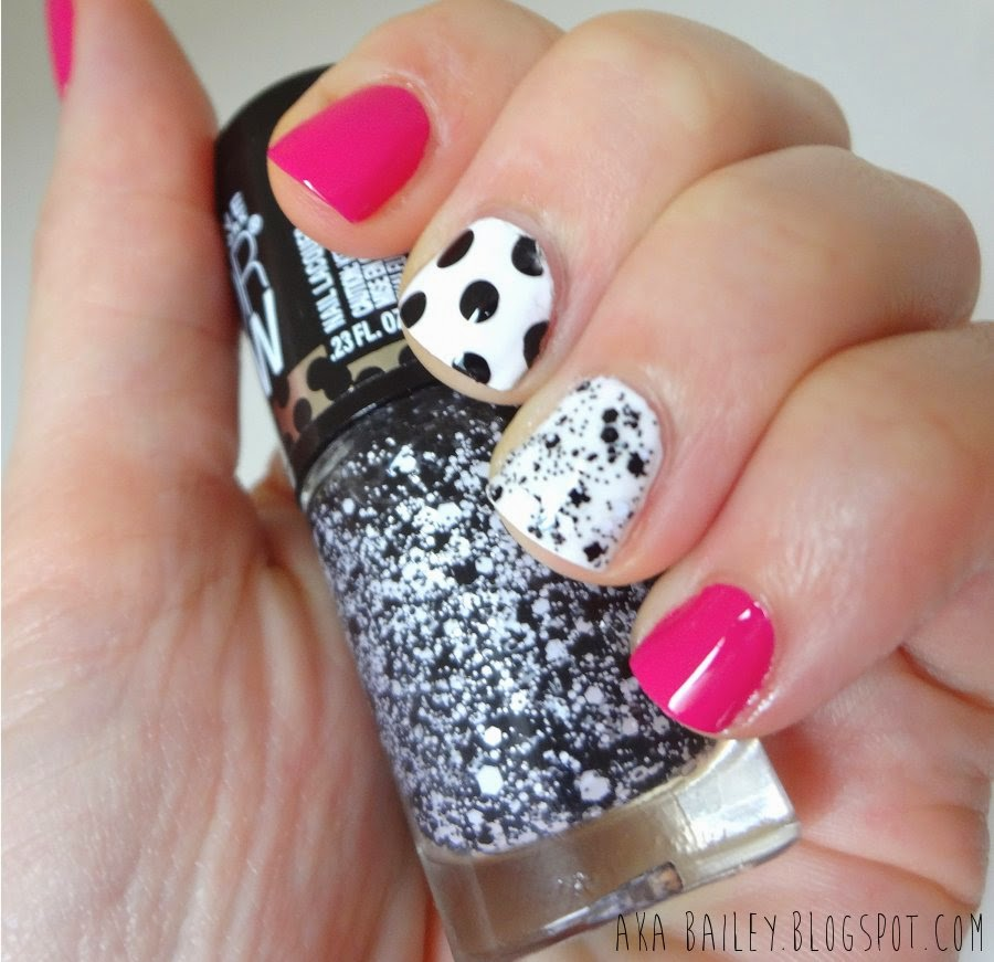 Fuchsia nails with black and white polka dot accent nails, Maybelline Clearly Spotted