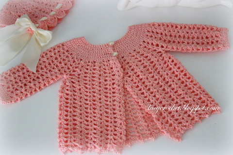 Crochet Baby Jacket Pattern : Lacy Crochet: Lacy Baby Sacque, Free Vintage Pattern