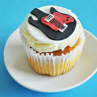 Guitar Fondant Cupcake Toppers from Two Sugar Babies