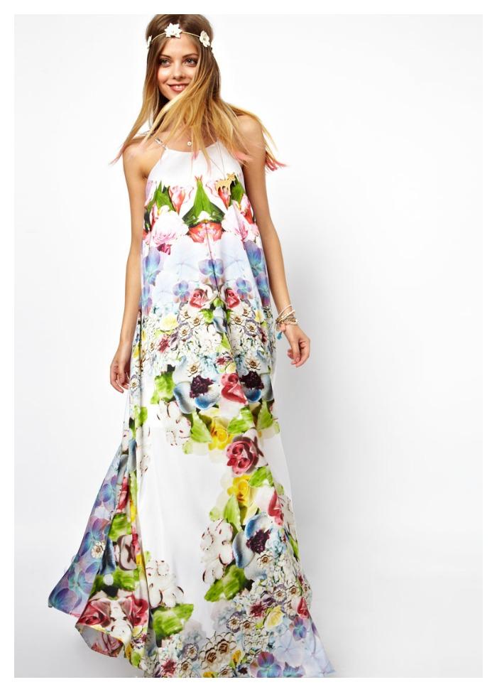 vestido largo flores asos