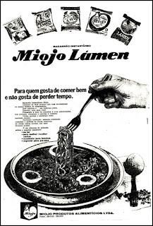 miojo, macarrão, 1972; os anos 70; propaganda na década de 70; Brazil in the 70s, história anos 70; Oswaldo Hernandez;