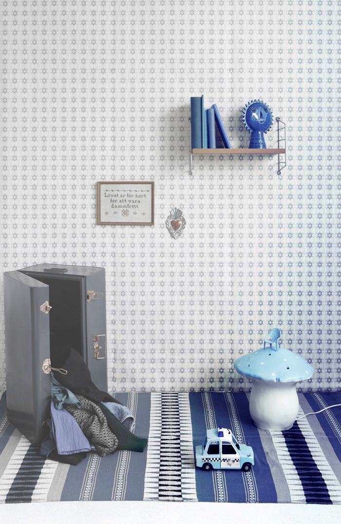 different tones of blue in children's room