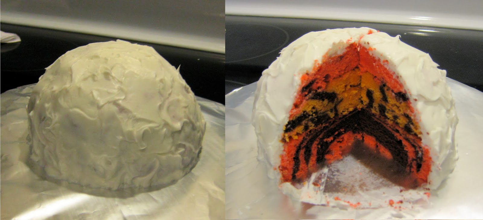 Calvin and Hobbes Snowmen Cake - Extra Snowball Cake Outside and Calvin & Hobbes Striped Inside