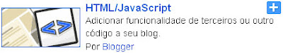 adicionar gadget de html/javascript no blogger