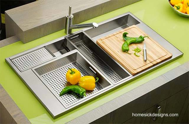Lavaplatos de acero inoxidable moderno funcional