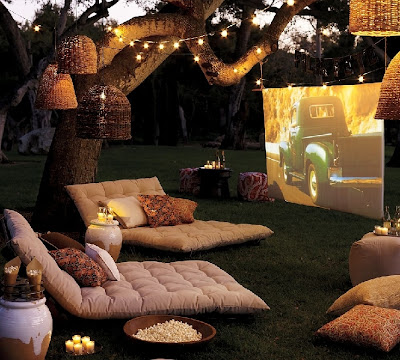 fun outdoor space for watching movies under the stars