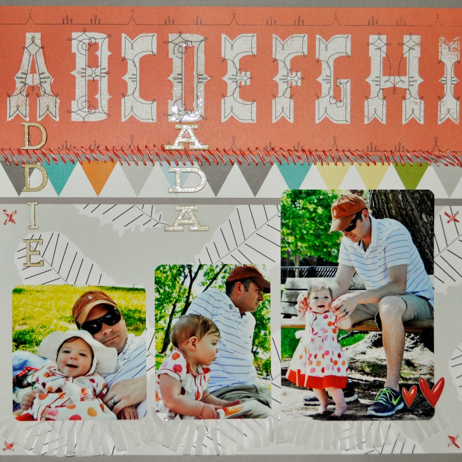 studio calico monthly kit penny arcade 12x12 scrapbook layout family theme father and daughter orange grey teal yellow hand stitched wood veneer letters ranger glossy accents feathers crepe paper frills
