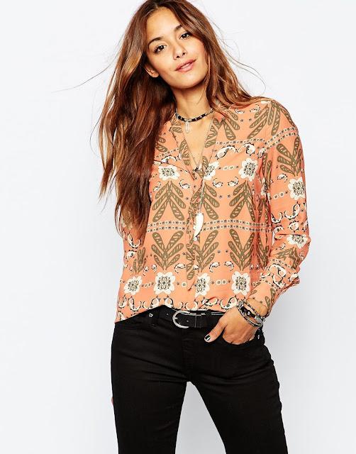 vila peach print blouse, peach printed blouse,