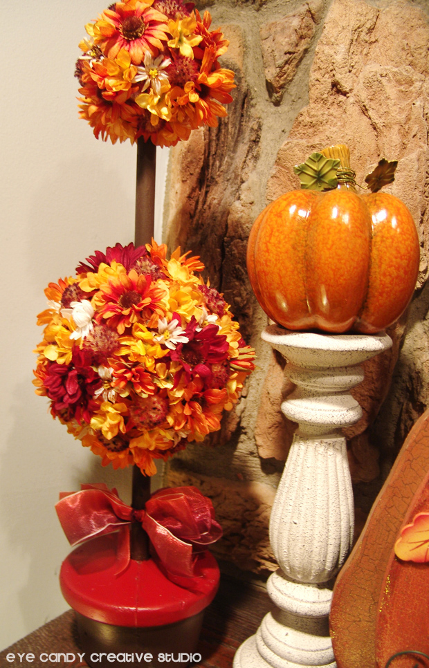 fall topiary in mantle, fall flowers, pumpkins, decor ideas for fall