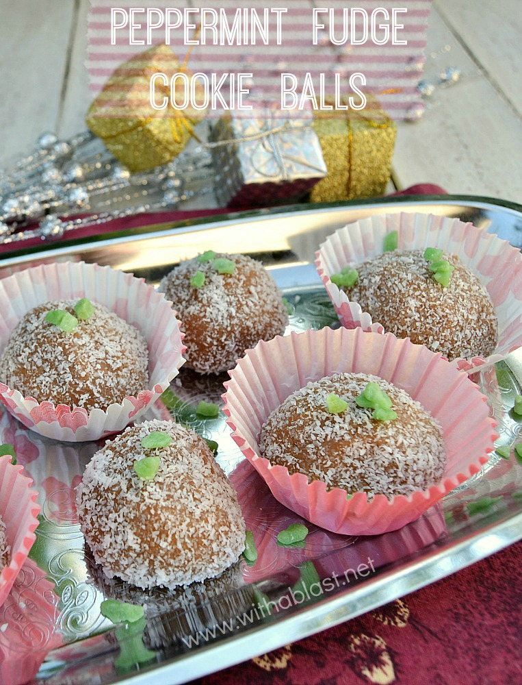 Peppermint Fudge Cookie Balls ~ These chewy, fudgy chocolate Peppermint Cookie Balls are mixed in a mixer, which only leaves you to roll them into Balls and cover with Coconut ~ total delight and a perfect edible gift idea ;-) #FudgeBalls #CookieBalls www.withablast.net