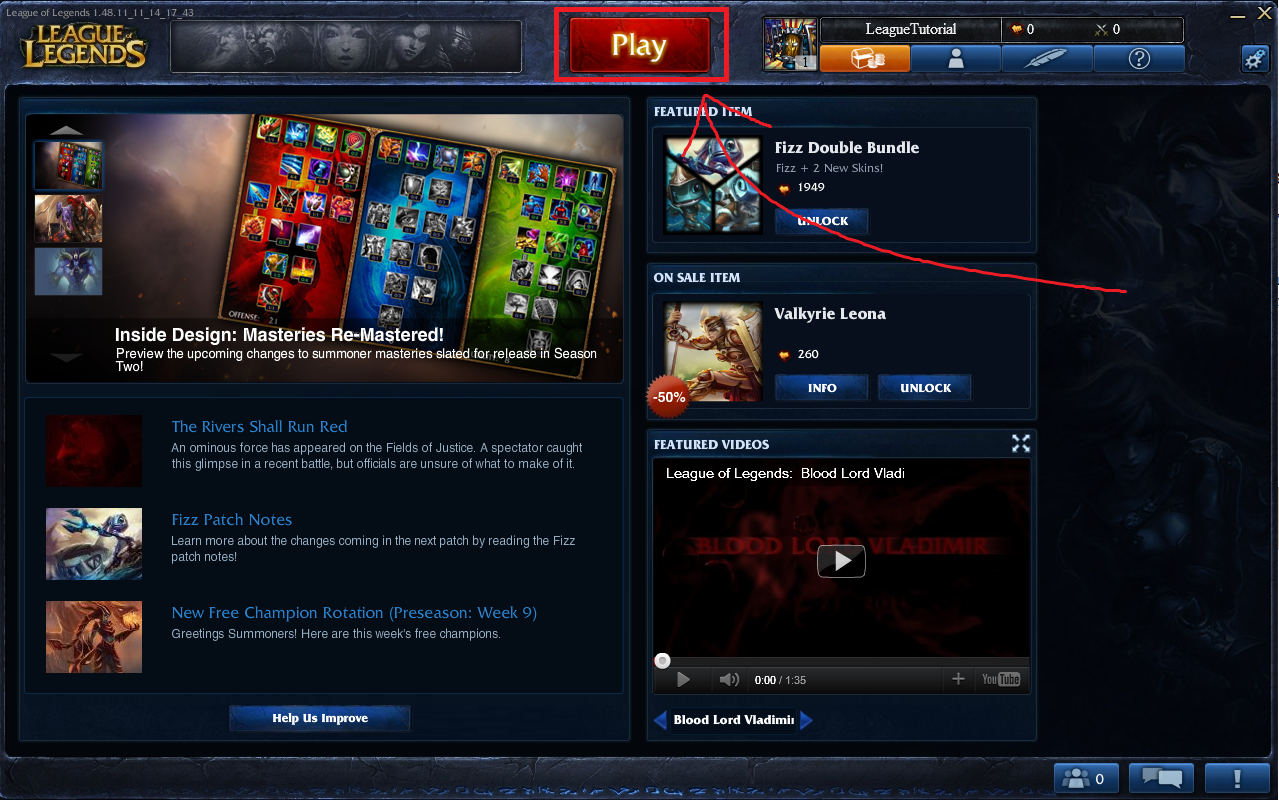 how to play tutorial again in league of legends