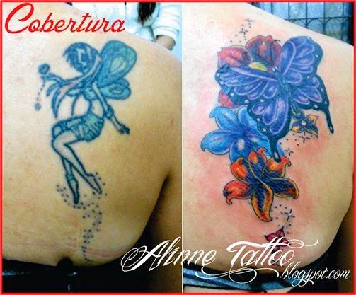 Cobertura Borboleta Flores Tatuagem Feminina