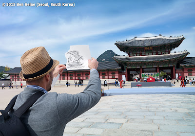 Artist Ben Heine working on a Pencil Vs Camera image  at Gyeongbokgung in Seoul, South Korea © 2013