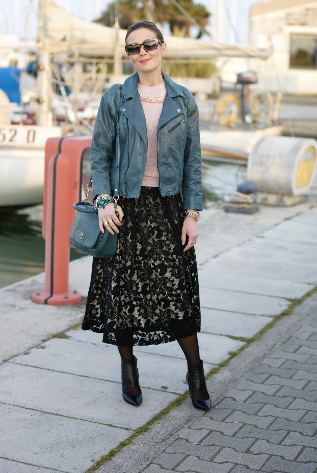 Black lace skirt, peacock leather jacket, Barneys originals leather jacket, Fashion and Cookies, fashion blogger