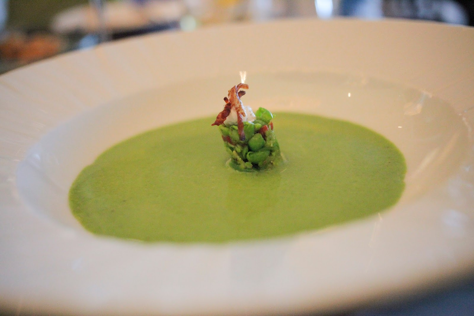 Pea and mint soup at Azurea