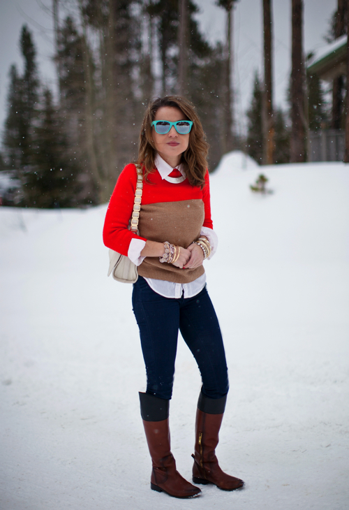 Hello, Framboise!: Weekend Outfit: Colorblock Sweater & Riding Booots