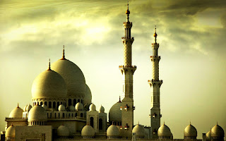 3D Mosque and Awesome Sky Landscape HD Wallpaper