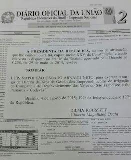 Dilma nomeia alagoano para direção da Codevasf