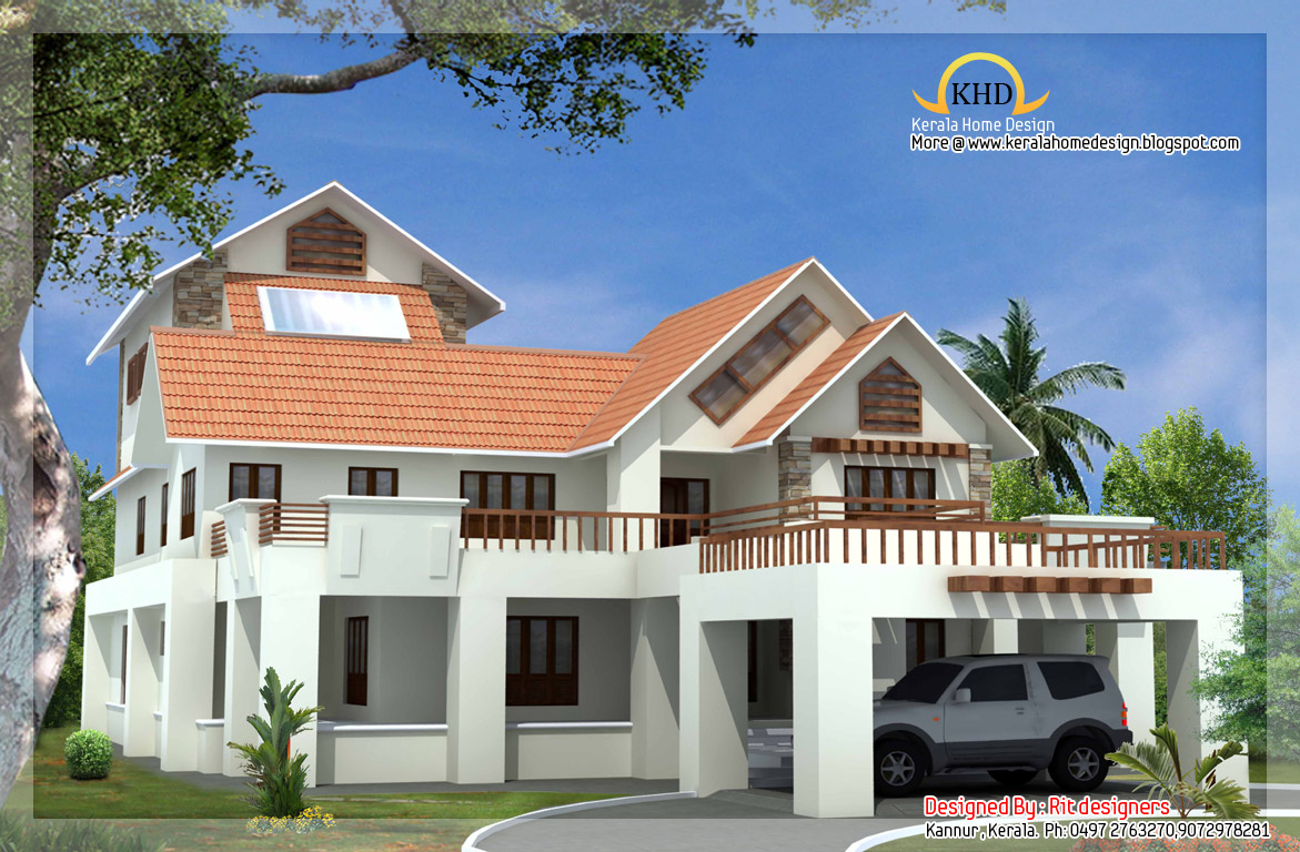 Beautiful luxury 3 story home elevation 5774 sq ft for 3 story house design