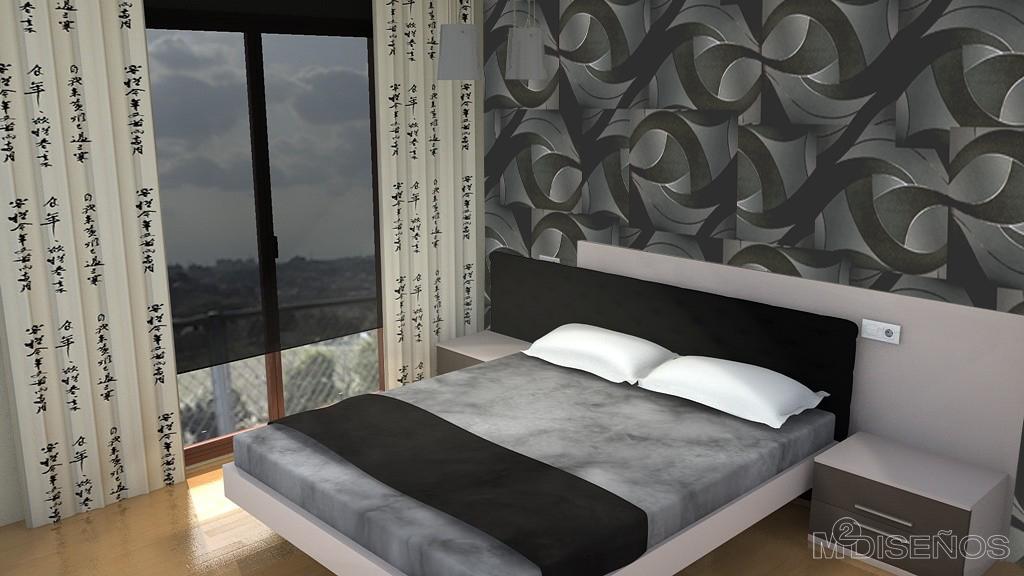 Piso completo proyecto 3d del dormitorio de matrimonio - Dormitorios blanco y negro ...