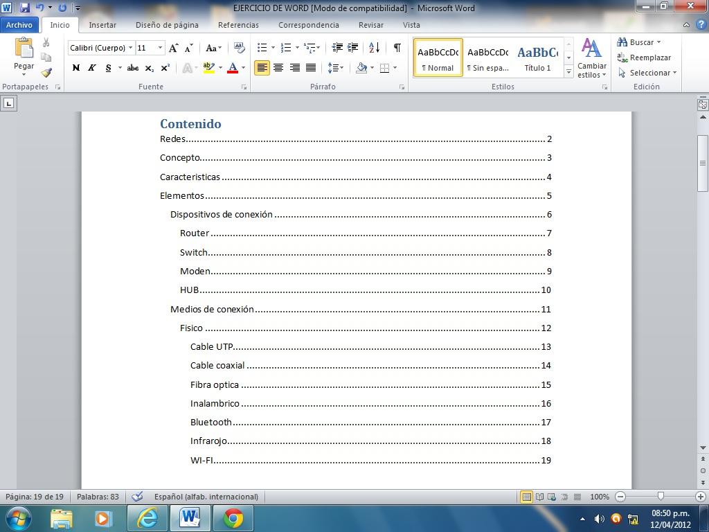 como hacer tablas de contenido, de ilustraciones e indice