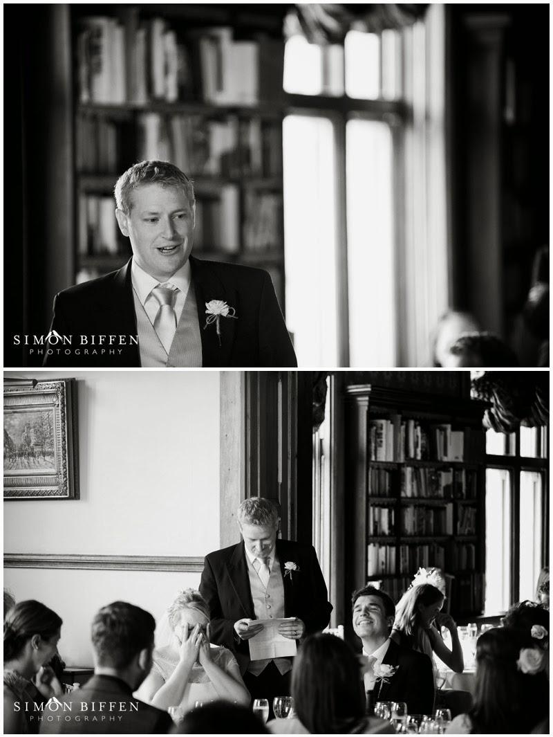 Best man wedding speech photographs at Huntsham Court